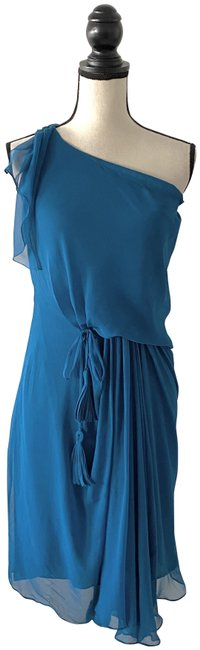 Item - Emerald Green Silk One Shoulder Mid-length Cocktail Dress Size 2 (XS)
