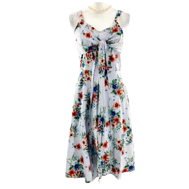 Item - Multicolor Ny White Color Floral Mid-length Short Casual Dress Size 14 (L)