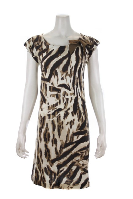 Item - Brown Sleeved Leopard Print Cotton Mid-length Short Casual Dress Size 8 (M)
