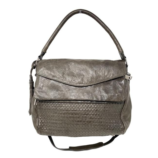 Item - Quilted Convertible Gray Leather Messenger Bag
