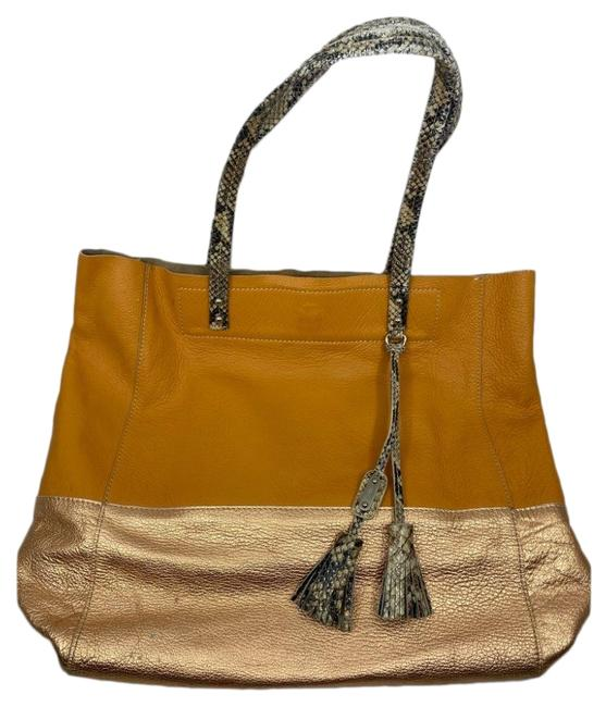 Item - Handbag Orange Gold Leather Tote
