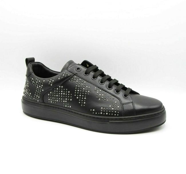 Item - Black Leather Silver Studded Low-top Sneakers 43/Us 10 Mex9amm70bk Shoes