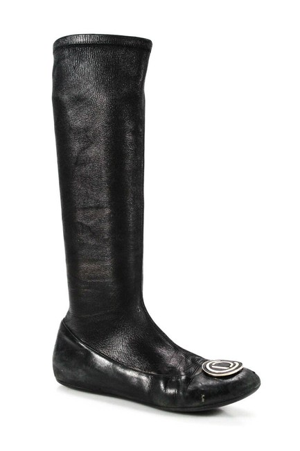 Dior Black Womens Leather Rounded Toe Flat Knee-high Boots/Booties Size EU 37.5 (Approx. US 7.5) Regular (M, B) Dior Black Womens Leather Rounded Toe Flat Knee-high Boots/Booties Size EU 37.5 (Approx. US 7.5) Regular (M, B) Image 1