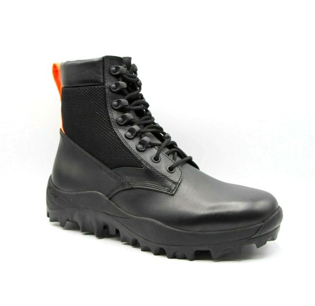 Item - Black Leather Reflective Patch Boots with Orange Pull 43/Us 10 Mex9ara18bk Shoes