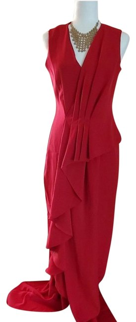 Item - Red Ruffle Cascade Maxi Long Formal Dress Size 6 (S)