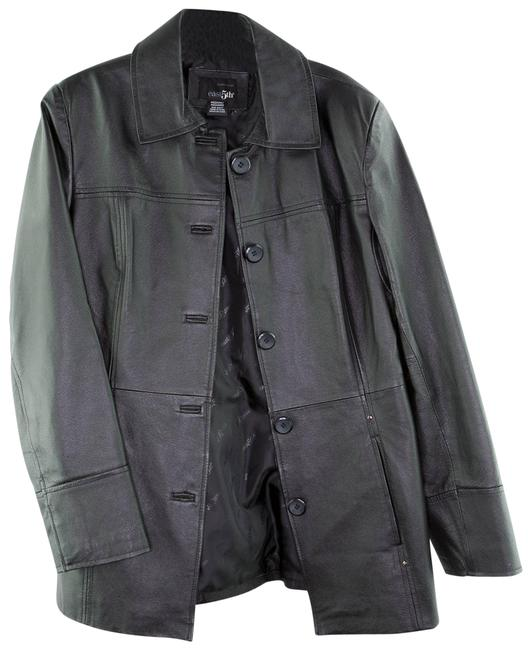 Item - Black Women's Buttoned Leather Medium Maternity Outerwear Size 8 (M)