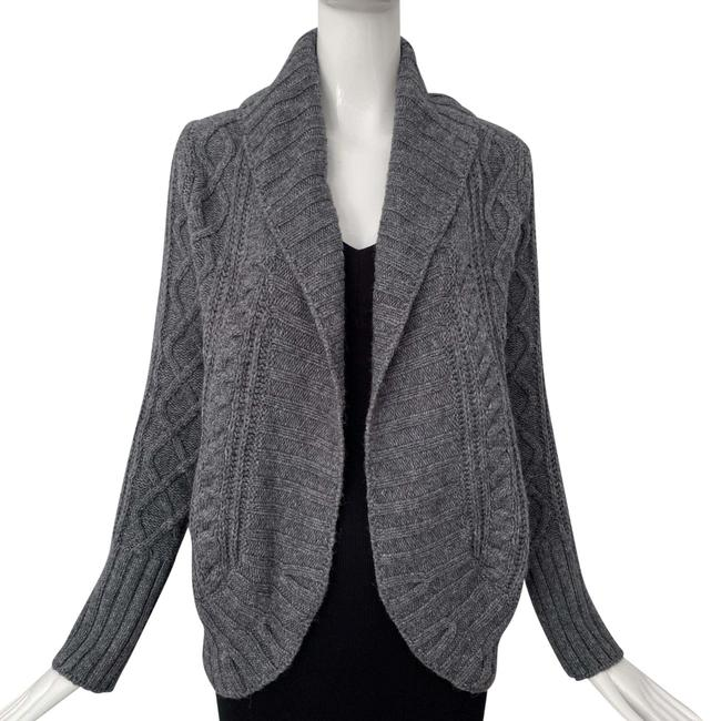 Item - Gray Open Front Cable Knit Sweater Cardigan Size 8 (M)
