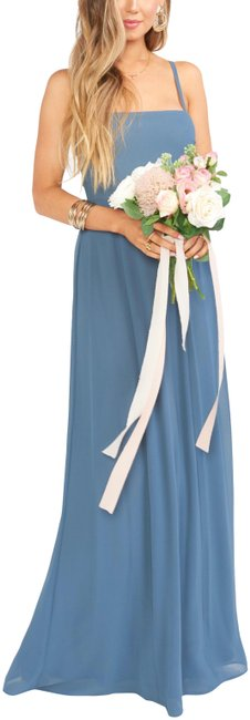 Item - Slate Blue Chiffon Lauren Tie Long Casual Maxi Dress Size 16 (XL, Plus 0x)