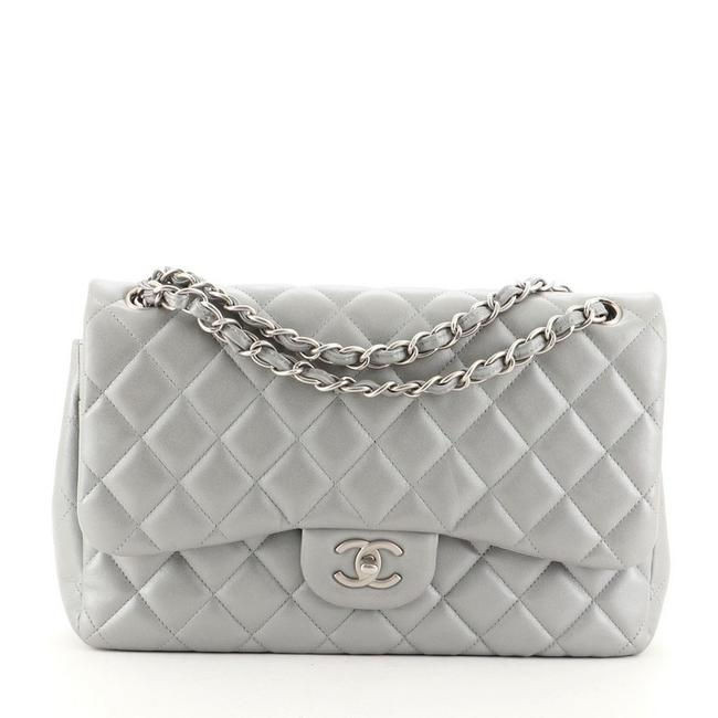Item - Classic Flap Classic Double Quilted Jumbo Gray Lambskin Leather Shoulder Bag