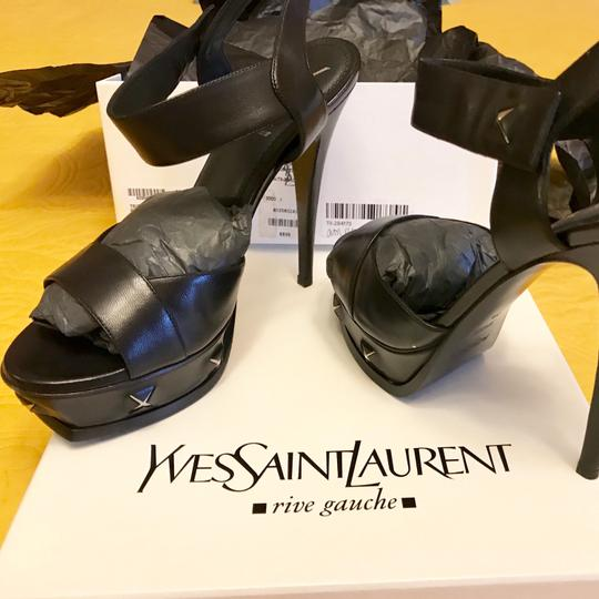 Saint Laurent Tribute Studded Platform Black Sandals