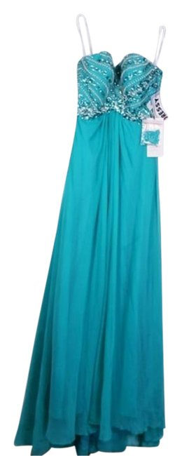 Item - Electric Green A-line Silky Beaded Long Formal Dress Size 4 (S)