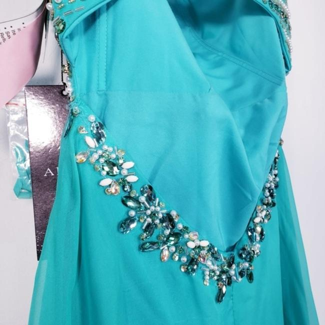 Alyce Paris Electric Green A-line Silky Beaded Long Formal Dress Size 4 (S) Alyce Paris Electric Green A-line Silky Beaded Long Formal Dress Size 4 (S) Image 11