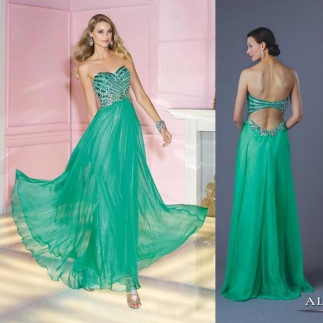 Alyce Paris Electric Green A-line Silky Beaded Long Formal Dress Size 4 (S) Alyce Paris Electric Green A-line Silky Beaded Long Formal Dress Size 4 (S) Image 5