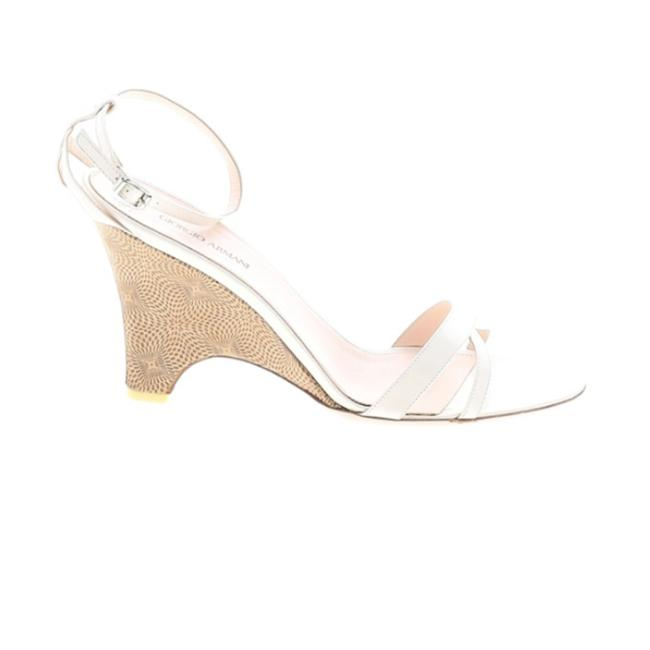 Item - White Heels Leather 39.5m/Us 9 Brown/White Euc Wedges Size EU 39.5 (Approx. US 9.5) Regular (M, B)