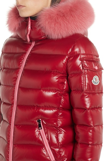 Item - Red Badyfur Quilted Down Puffer Jacket with Removable Genuine Fox Fur Trim Coat Size 12 (L)