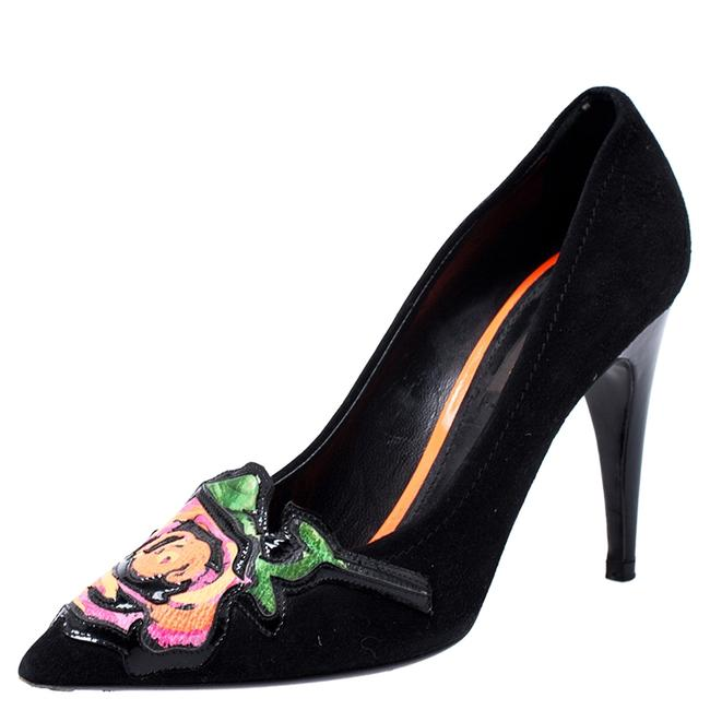 Item - Black Limited Suede Stephen Sprouse Rose Pointed Pumps Size US 6 Regular (M, B)