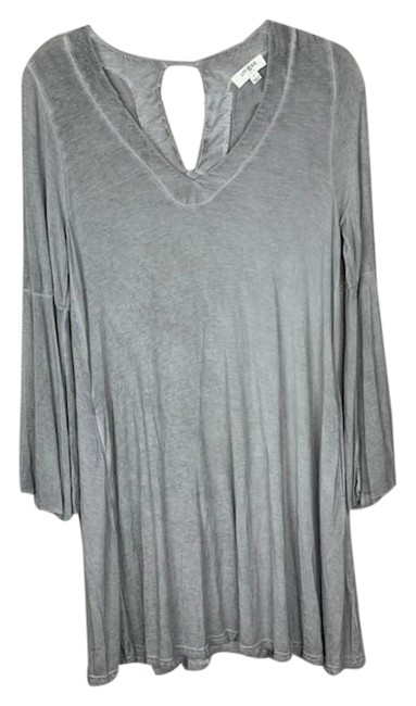 Item - Gray Washed Pocket Long Bell Sleeve Short Casual Dress Size 6 (S)