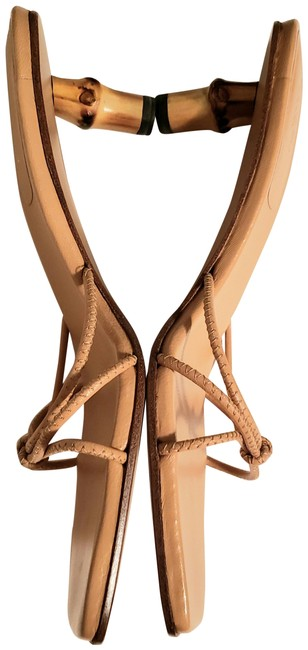 Item - Beige Bamboo Heel Slide Sandals Size EU 35 (Approx. US 5) Wide (C, D)