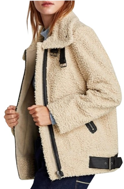 Item - Cream/Black Teddy Faux Shearling Aviator Moto Jacket Size 6 (S)