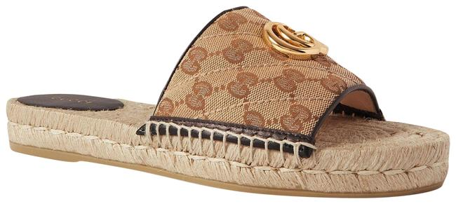 Item - Beige Pilar Leather-trimmed Embellished Logo-detailed Canvas Espadrille Slid Sandals Size EU 39 (Approx. US 9) Regular (M, B)