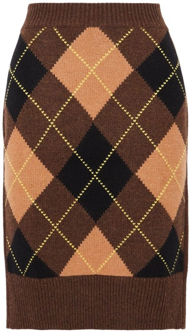 Item - Brown Ayla Argyle Wool and Cashmere-blend Skirt Size 00 (XXS, 24)
