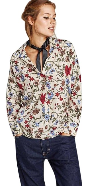 Item - Multicolor XS Floral Print Long Sleeve New Blouse Size 2 (XS)