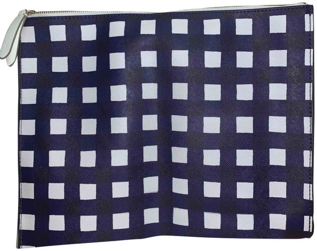 Item - Large Zippered Coated Canvas Pouch Tech Case Navy/White Pvc Clutch