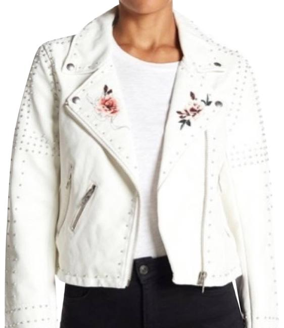 Item - White Stud Moto Faux Leather Small Jacket Size 4 (S)