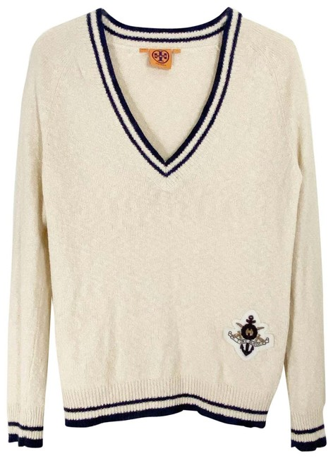 Item - Knubby Knit V-neck Applique Size Small Cream Sweater