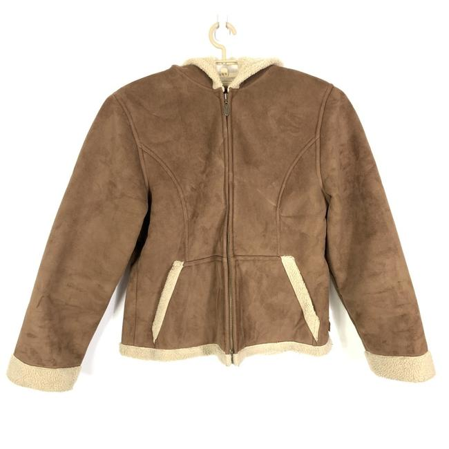 Item - Brown Mudd Faux Suede Sherpa Fur Lining Coat Hooded Barn Ranch Jacket Size 18 (XL, Plus 0x)