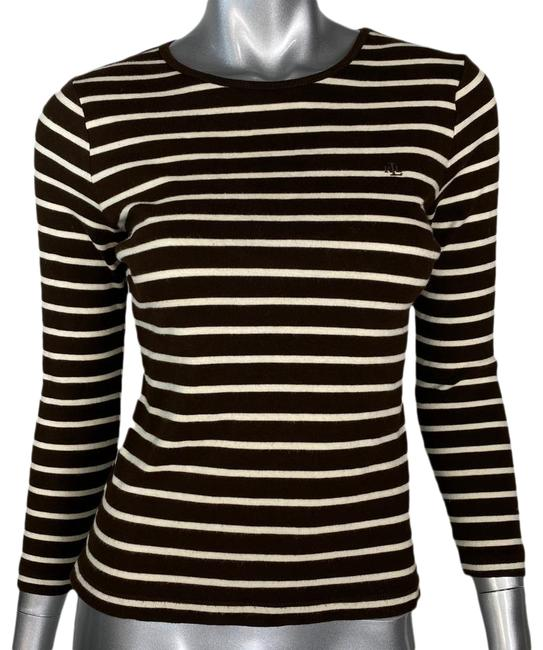 Item - Brown Striped Knit Tee Shirt Size Petite 8 (M)