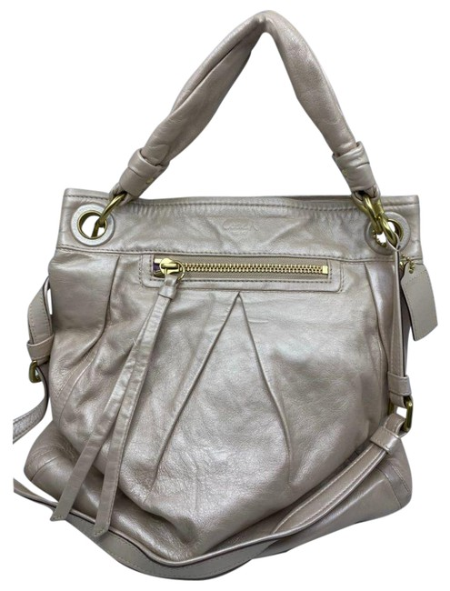 Item - XL Very Good Condition Cream Silver Leather Shoulder Bag
