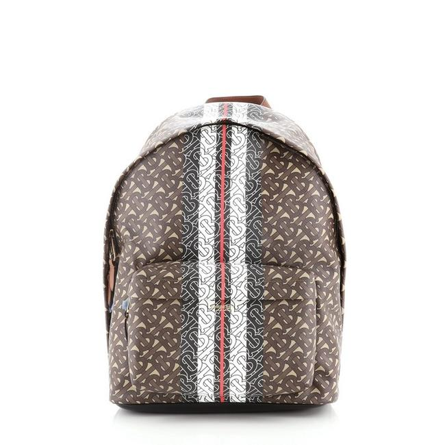 Item - Tb Zip Pocket Monogram Brown Print Canvas Backpack