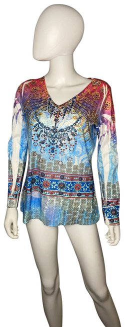 Item - Multicolor Long Sleeve Sequined Tee Shirt Size 10 (M)