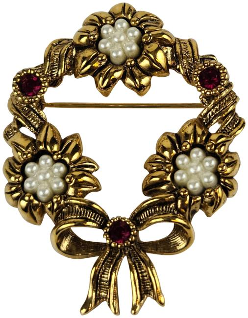 Item - Gold Tone Seed Pearls + Bow Vintage Wreath Christmas Brooch Pin