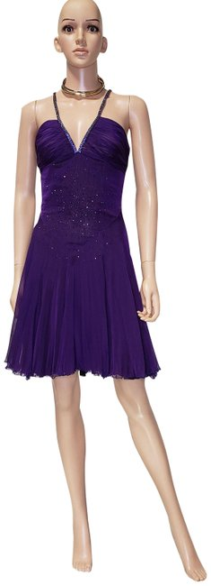 Item - Purple Vintage Crystal Embellished with Chain Mail Strap Mid-length Cocktail Dress Size 4 (S)