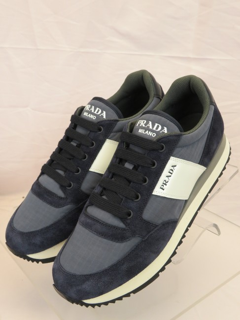 Item - Blue 4e3546 Navy Suede White Leather Logo Lace Up Sneakers 8 / Us 9 Shoes