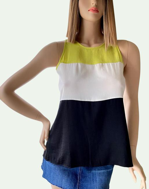 Item - Black White and Yellow Lime Lucie Sleeveless Blouse Size 2 (XS)