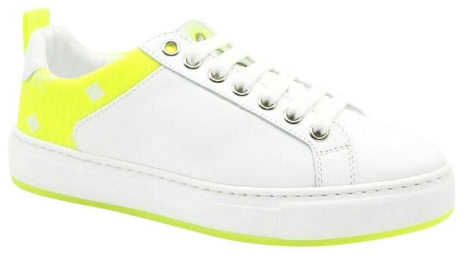 Item - White Leather Neon Green Logo Trim Low-top 37/Us Mes9alc67wt Sneakers Size US 7 Regular (M, B)