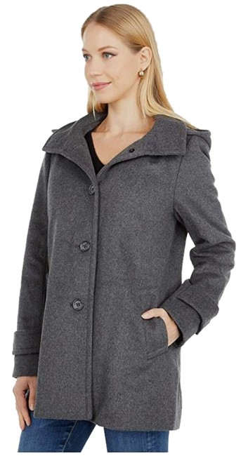 Item - Gray Wool A-line Reefer with Removable Hood Coat Size 2 (XS)