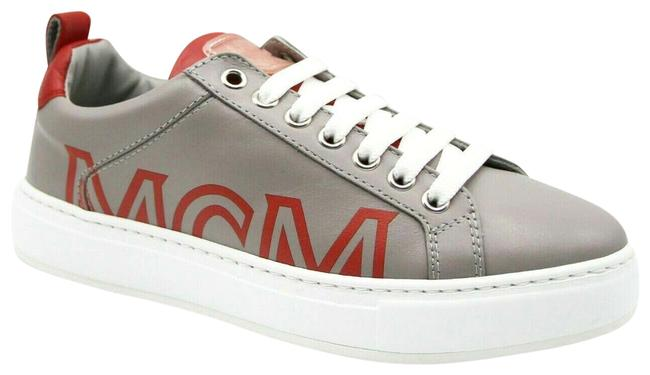 Item - Grey Leather Low-top with Red Trim and Logo 38/Us Mes9amm16eg Sneakers Size US 8 Regular (M, B)