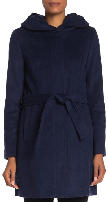 Item - Navy Wool Blend Belted Hooded Coat Size 6 (S)