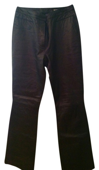 III state,genuine leather black color Boot Cut Pants Black