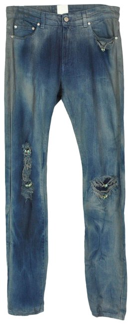 Item - Blue Distressed Men's with Rings Straight Leg Jeans Size 29 (6, M)