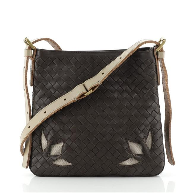 Item - Zip Cut Out Intrecciato Nappa Small Brown Leather Cross Body Bag