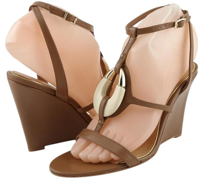 Item - Tan Amelia Leather Open Toe Wedges Heels Sandals Size US 6.5 Regular (M, B)