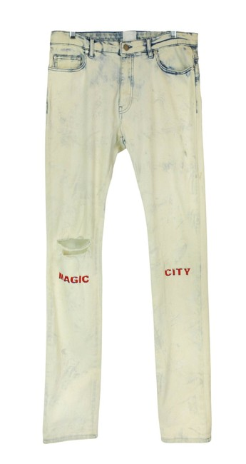 Item - White Light Wash Holt Magic City Distressed Dip Dyed Skinny Jeans Size 33 (10, M)