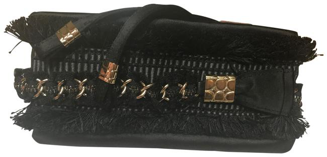 Item - Fringe And Black with Gold Chain Silk Clutch