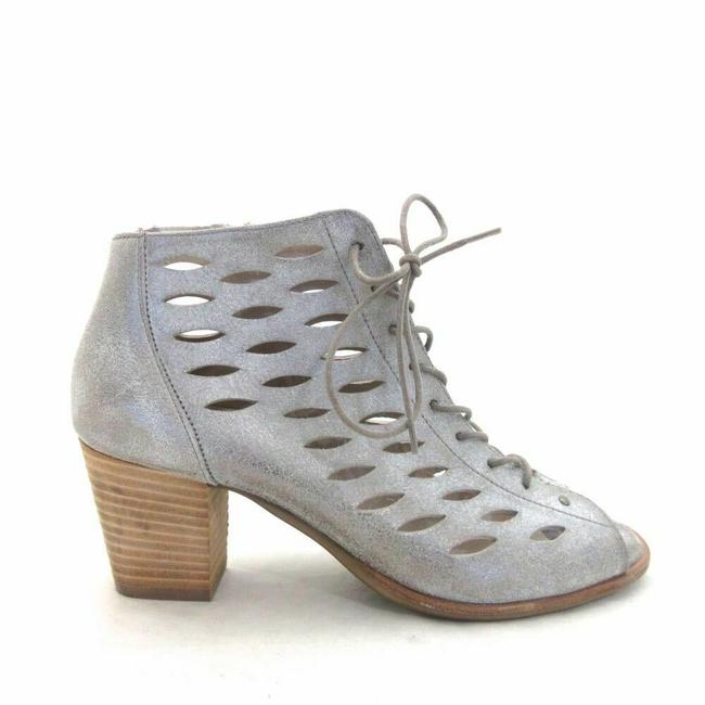 Item - Silver Au / 8 - Peep Toe Lace Up Stacked Heels Boots/Booties Size US 5.5 Regular (M, B)