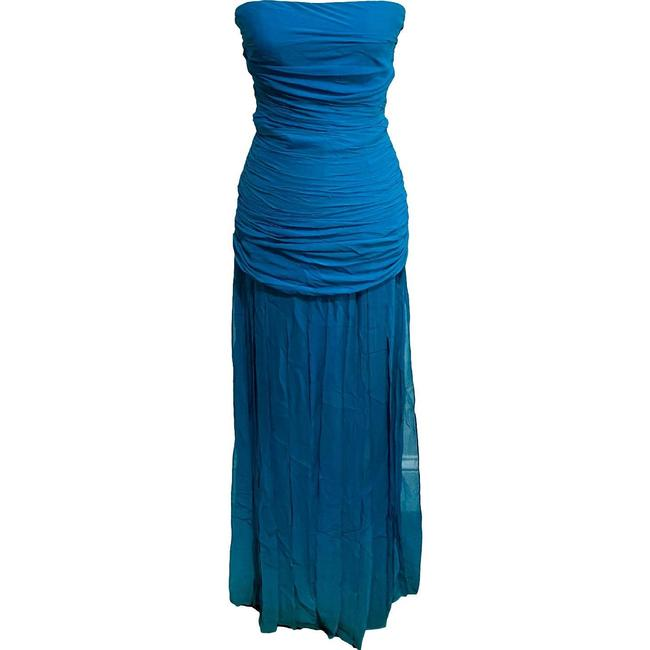 Item - Blue Silk Strapless Floating Panel Gown Mid-length Formal Dress Size 0 (XS)